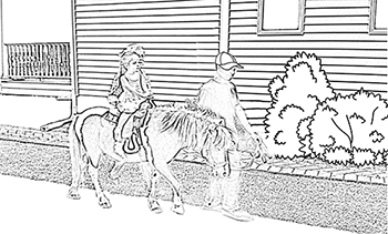 Coloring Page – Pony Ride with Dad